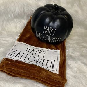 Rae Dunn Throw and pumpkin Halloween
